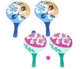 2 raquettes de plage en bois Beachball + 1 balle