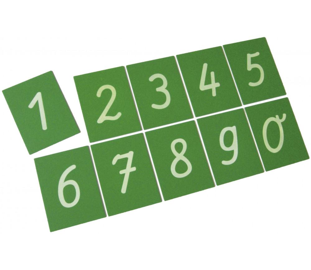 10 chiffres rugueux en relief de 0 à 9 - Cartes bois
