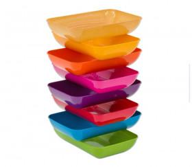 6  grandes barquettes plateaux colorés Bioplastique 23 x 14.9 x 4 cm GM