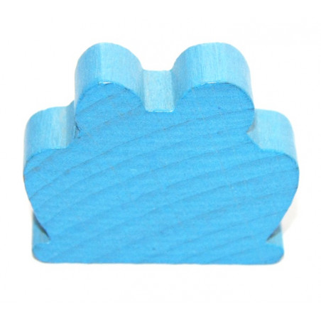 Grand Pion grenouille en bois bleu pour jeu