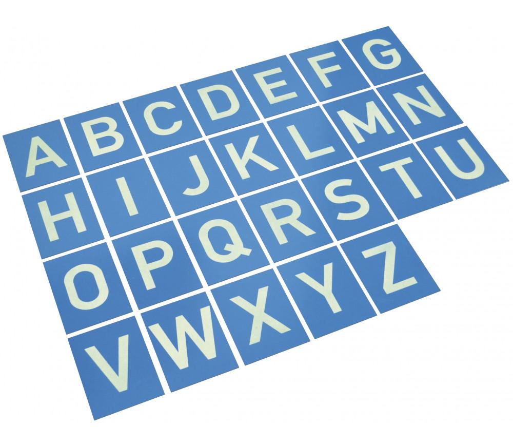 26 Lettres en relief de A à Z majuscule - Cartes en bois 12 x 16 cm