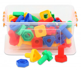 Jeu 64 pièces vis et écrous dans boite plastique