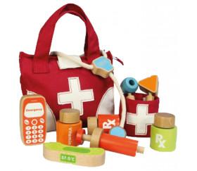 Malette du docteur et ses accessoires en bois