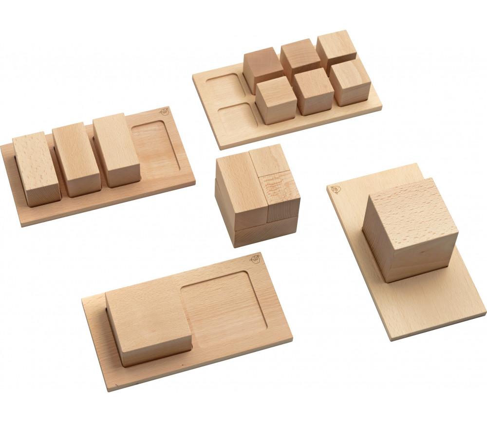 Cubes décomposition Montessori : 15 blocs + 4 puzzles bois naturel