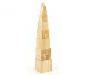 Tour bois naturel Montessori - 10 cubes en bois