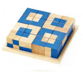 Jeu de 16 cubes bicolores sur plateau