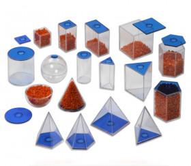 17 volumes géométriques plastique translucide 5.6 cm - Solides à remplir