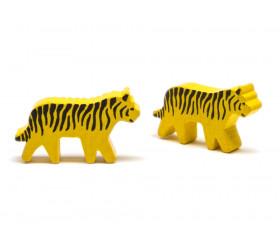 Pion tigre tacheté jaune et noir en bois pour jeu 40 x 22 X 8 mm