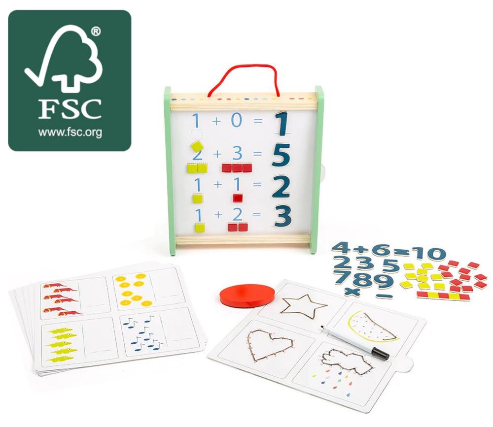 Coffret apprentissage : chiffres et quantités en bois certifié FSC