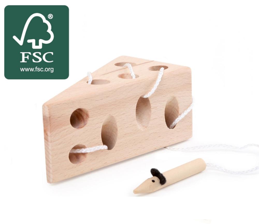 Jeu de patience et dextérité laçage fromage et souris bois certifié FSC