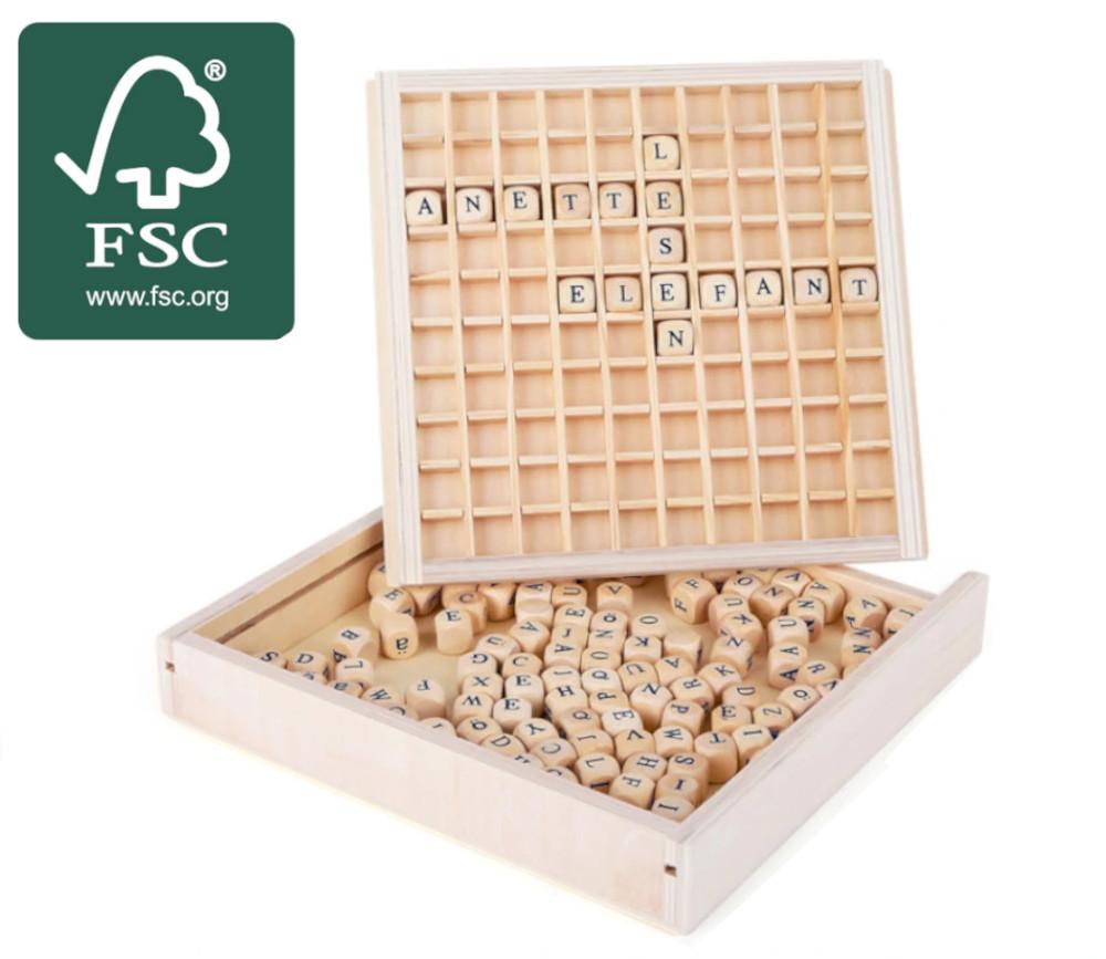 Jeu de cubes lettres en bois 145 pièces - jeu de mots certifié FSC