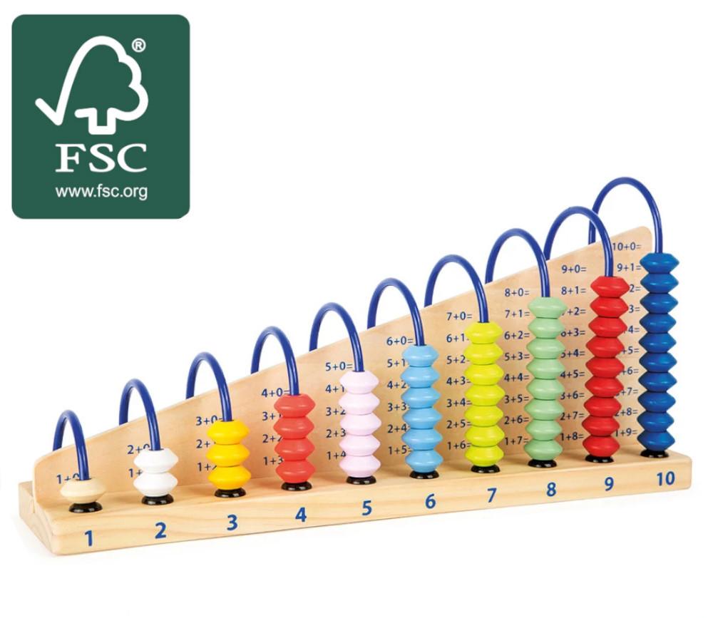 Boulier Education bois addition 10 rangées bois certifié FSC