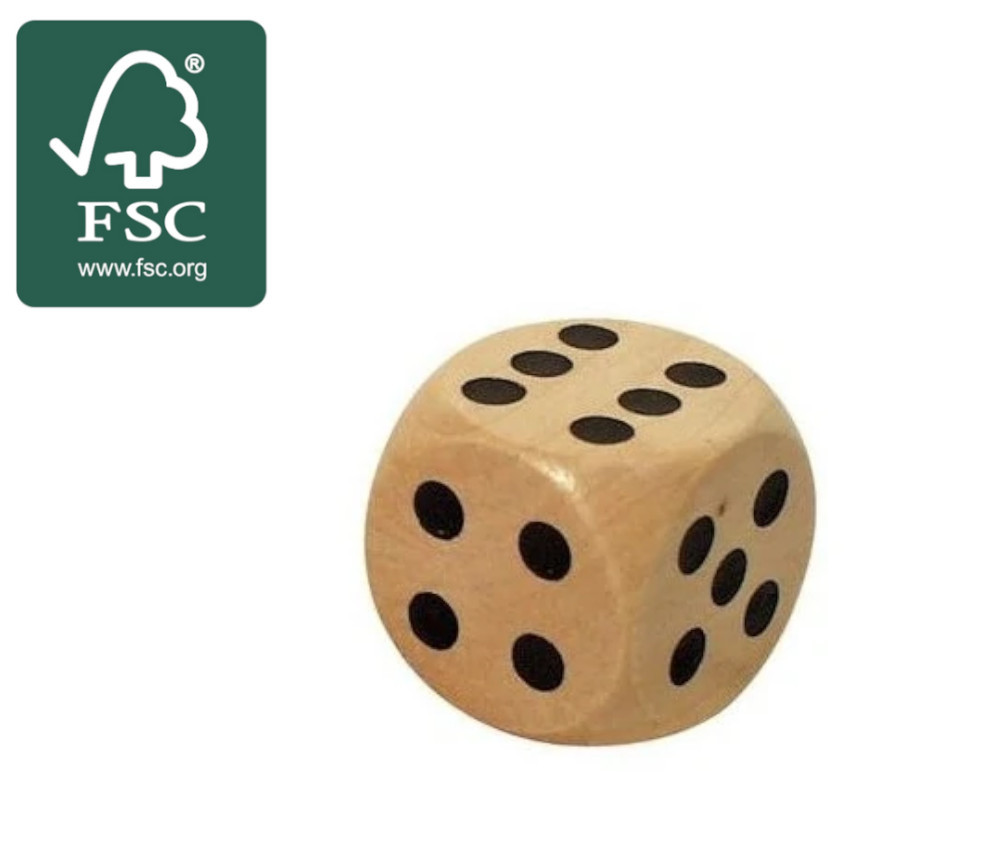 Dé en bois certifié FSC 25 mm de 1 à 6 pour jeu de société