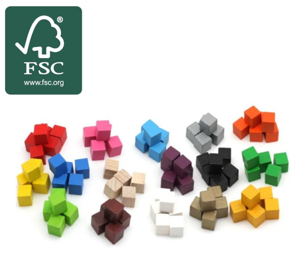 20 Cubes en bois certifié FSC 1 cm. 10 x 10 x 10 mm