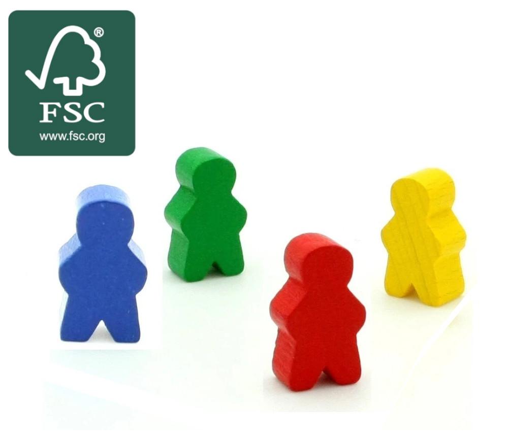4 Pions personnage en bois  certifié FSC bonhomme meeple lot de 4 pions garçons