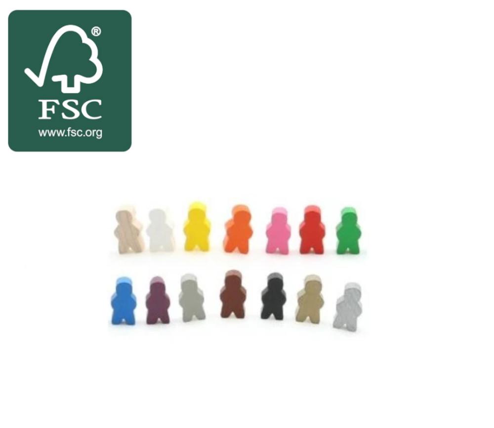 Pion garçon en bois certifié FSC bonhomme meeple 14 x 24 X 8 mm personnage à l'unité