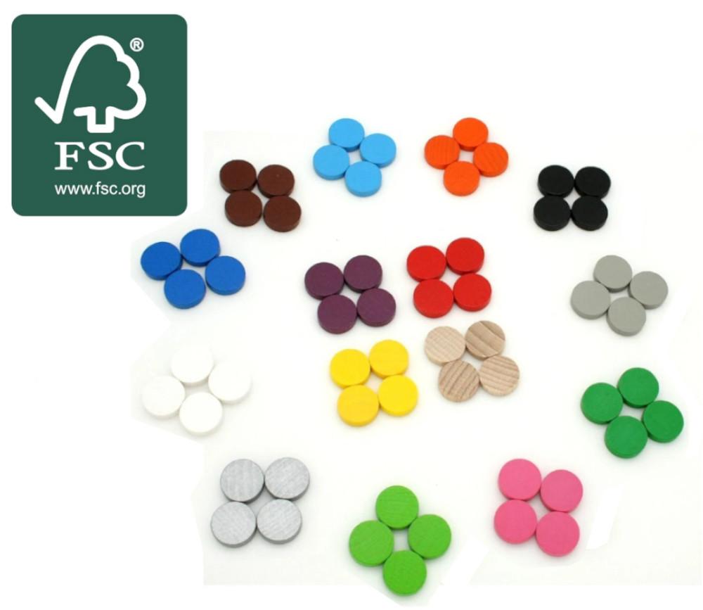 20 Pions jetons bois certifié FSC 15 x 4 mm pour jeux