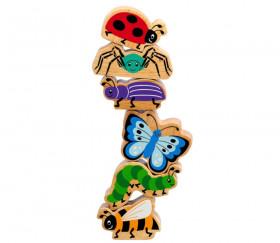 6 figurines insectes en bois colorés