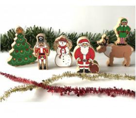 Sapin de Noël en bois décor figurine