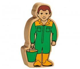 Assistant fermier en bois coloré 100 x 53 x 25 mm personnage jeu