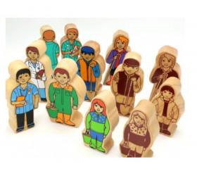 Fermier en bois coloré 100 x 46 x 25 mm personnage jeu