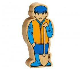 Fermier paysan en bois coloré 100 x 46 x 25 mm personnage jeu