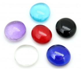 40 galets gems multicolores verre mini pierres plates 18/22 mm