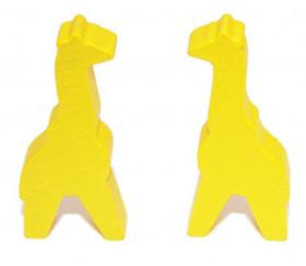 Pion girafe jaune en bois