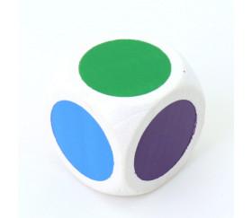 Dé bois 20 mm bleu, vert, jaune, rouge, orange, violet fond blanchi