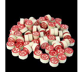 Jetons de loto en bois numérotés de 1 à 90 en rouge