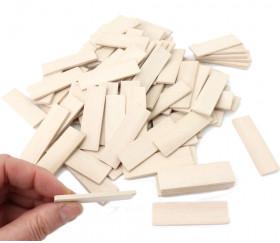 100 Jetons 5,4 x 1,6 x 0,3 cm en bois naturel blanchi : Fin de série
