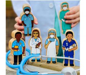 Sage-femme en bois 100 x 40 x 25 mm personnage jeu hôpital