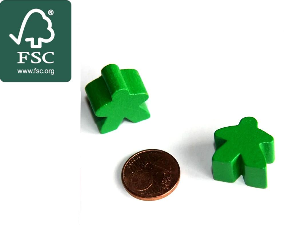 Pion de jeu meeple original personnage vert en bois certifié FSC type carcassone