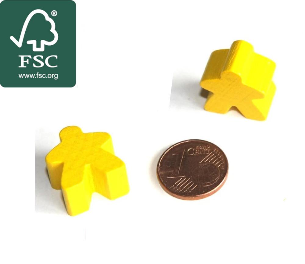 Pion de jeu meeple original personnage jaune en bois certifié FSC type carcassone