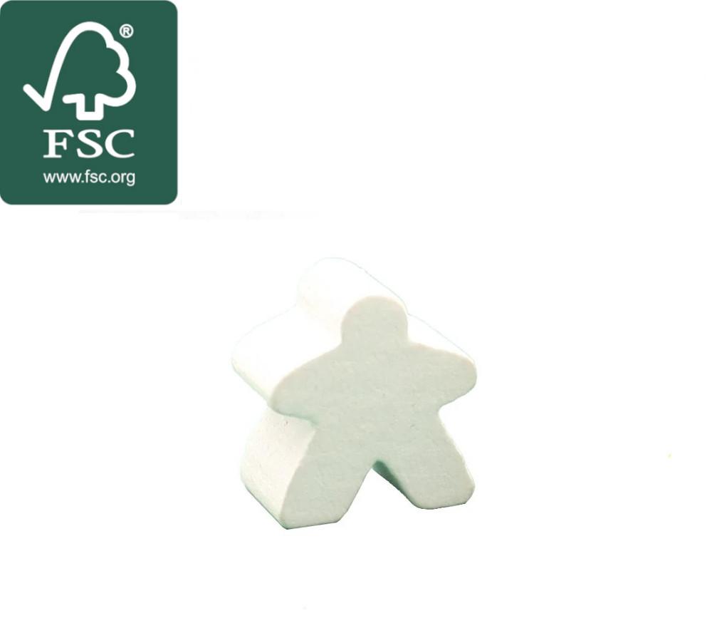 Pion de jeu meeple original personnage blanc en bois certifié FSC type carcassone