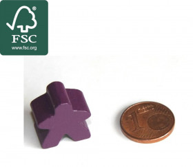 Pion meeple de jeu original personnage violet en bois certifié FSC type carcassone
