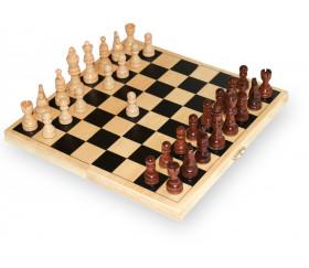 Coffret échec complet pliable 26 cm : plateau bois + 32 Pièces bois