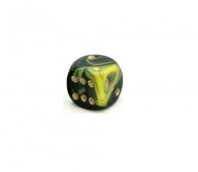 Dé à jouer marbré jaune/noir 16 mm