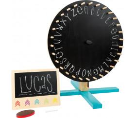 roue éducative à personnaliser en bois lettres, chiffres, actions ou couleurs.