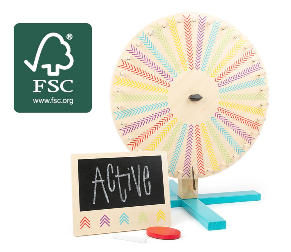 Roue pour jeu 44 cm deux faces : 1 personnalisable et 1 couleur + panneau des scores en bois certifié FSC