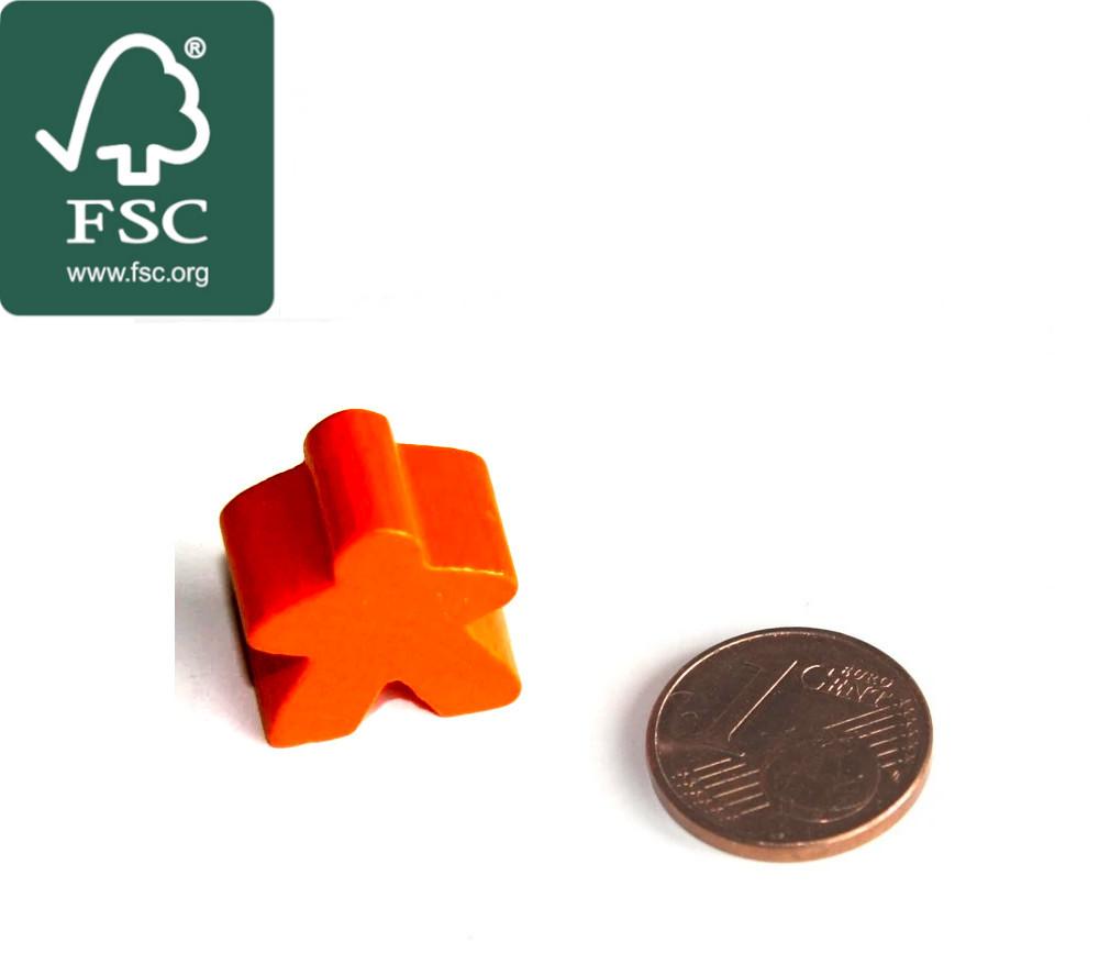 Pion meeple original personnage orange en bois certifié FSC type carcassone