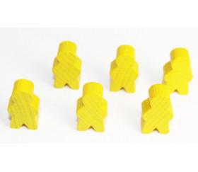 Pions personnage jaune en bois bonhomme meeple