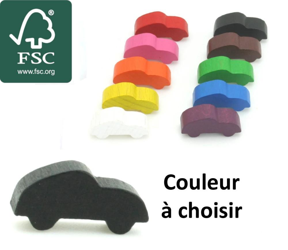 Pion bois certifié FSC voiture colorée pour jeu 25 x 11 x 8 mm à l'unité