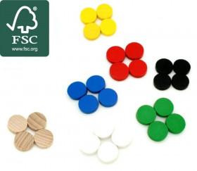 20 Mini jetons bois certifié FSC10 x 4 mm lot pour jeux