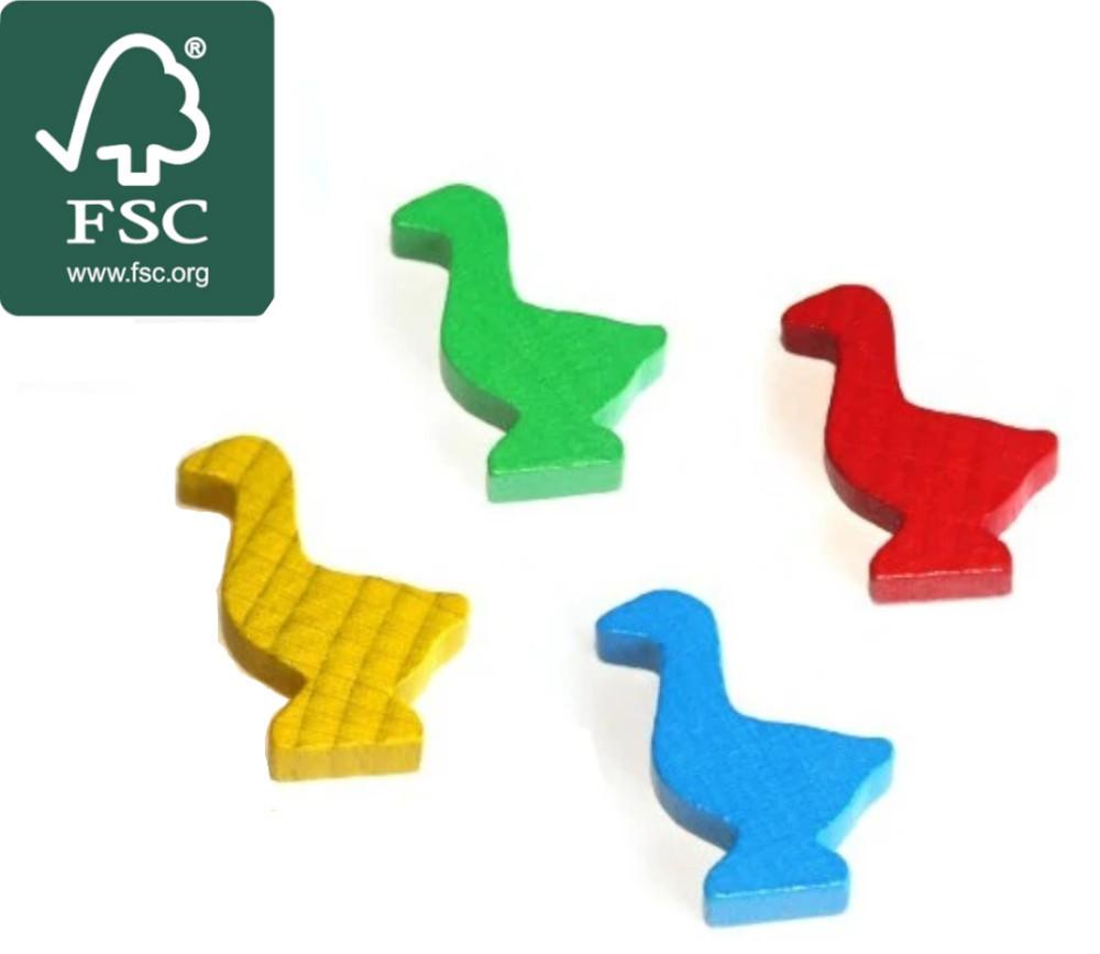 4 pions oie en bois certifié FSC pour jeu de l'oie 3.5 cm