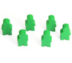 Pions personnage vert en bois bonhomme meeple