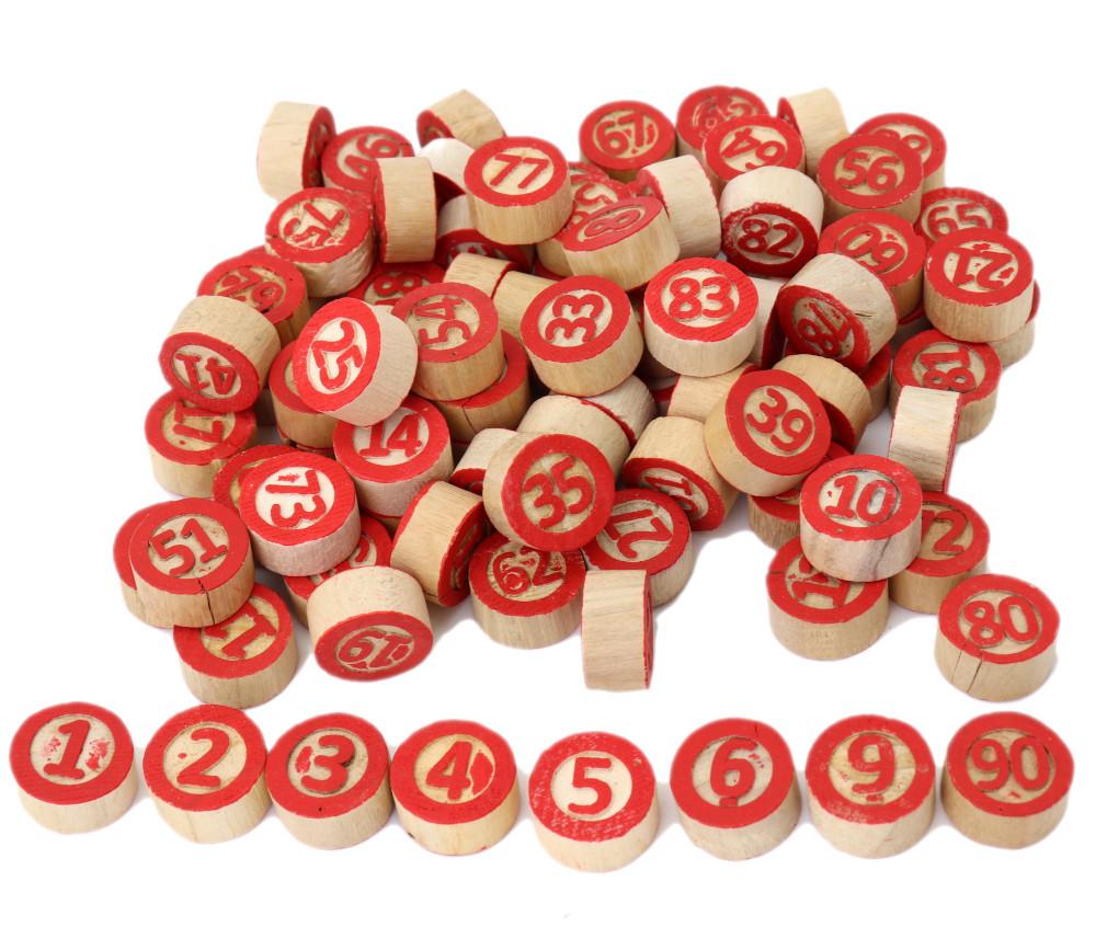 Jetons numérotés 1 à 90 en bois 2ème choix