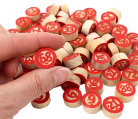 Jetons en bois numérotés de 1 à 90 rouge avec défauts