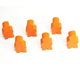 Pions personnage orange en bois bonhomme meeple