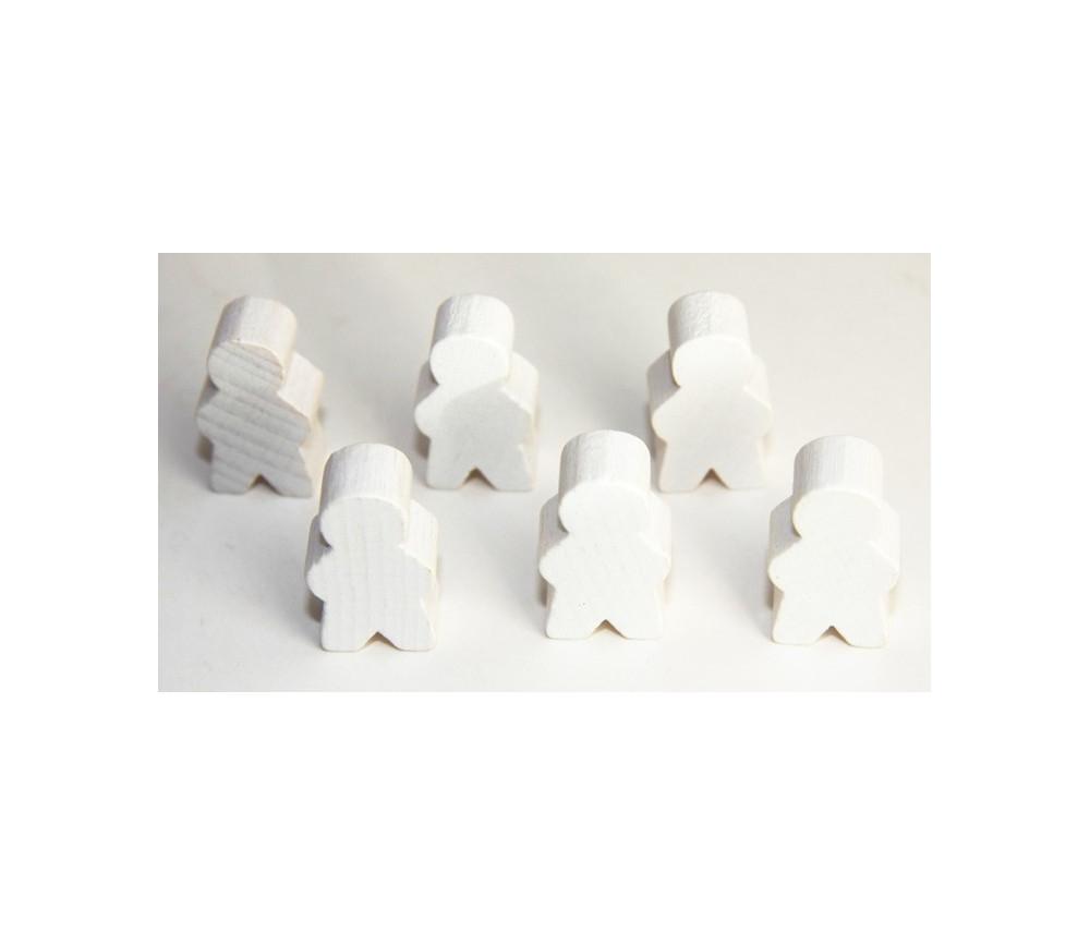 Pions personnage blanc en bois bonhomme meeple